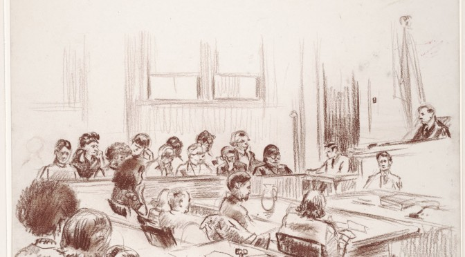 Sketch_of_an_overview_of_the_courtroom_that_includes_the_judges_bench_and_the_defense_table._24